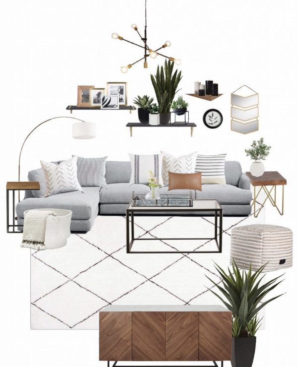 mixing styles of interior design - living room mood board